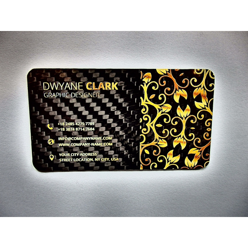 Carbon fiber business cards - 50 items, double side overprint - Dexcraft
