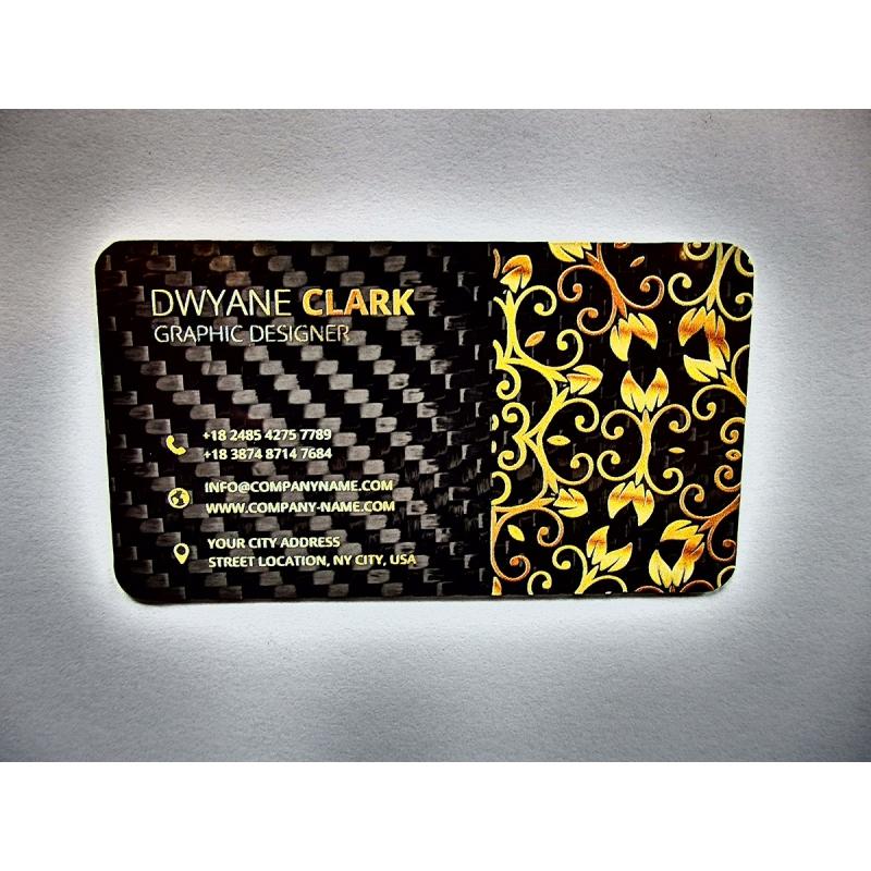 Carbon fiber business cards - 50 items, double side overprint ...